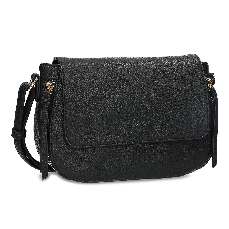 Czarna torebka typu crossbody ze złotymi zamkami błyskawicznymi - 9616001