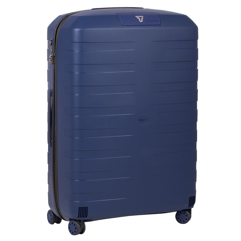 Modrý cestovní kufr na kolečkách