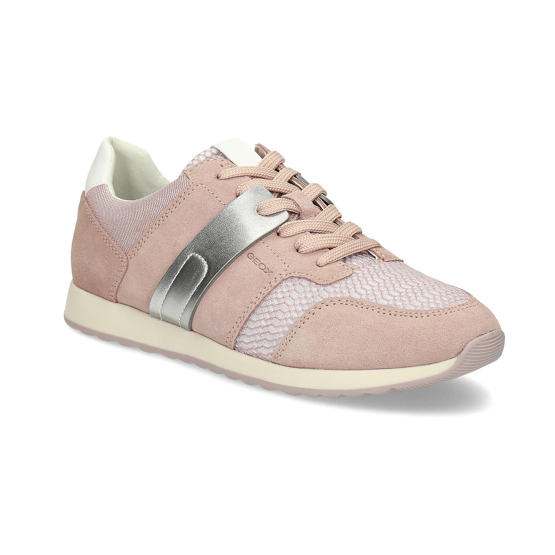 Dámské kožené růžovo-stříbrné tenisky