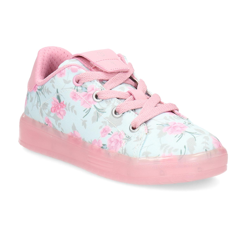 Dívčí růžové tenisky s kytičkami