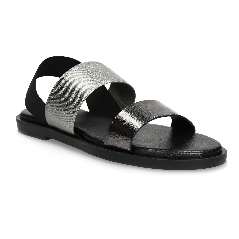 Kožené dámské černo-stříbrné sandály