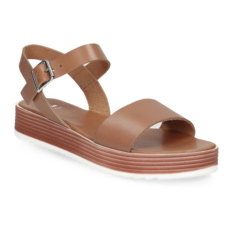 Dámské kožené sandály na flatformě hnědé