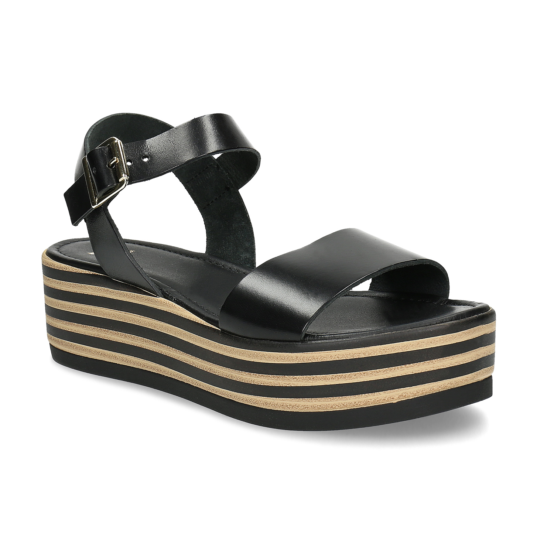 Dámské kožené sandály s pruhovanou flatformou