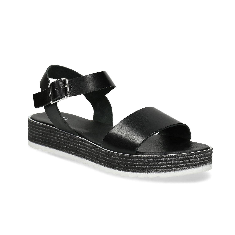 Černé dámské kožené sandály s flatformou
