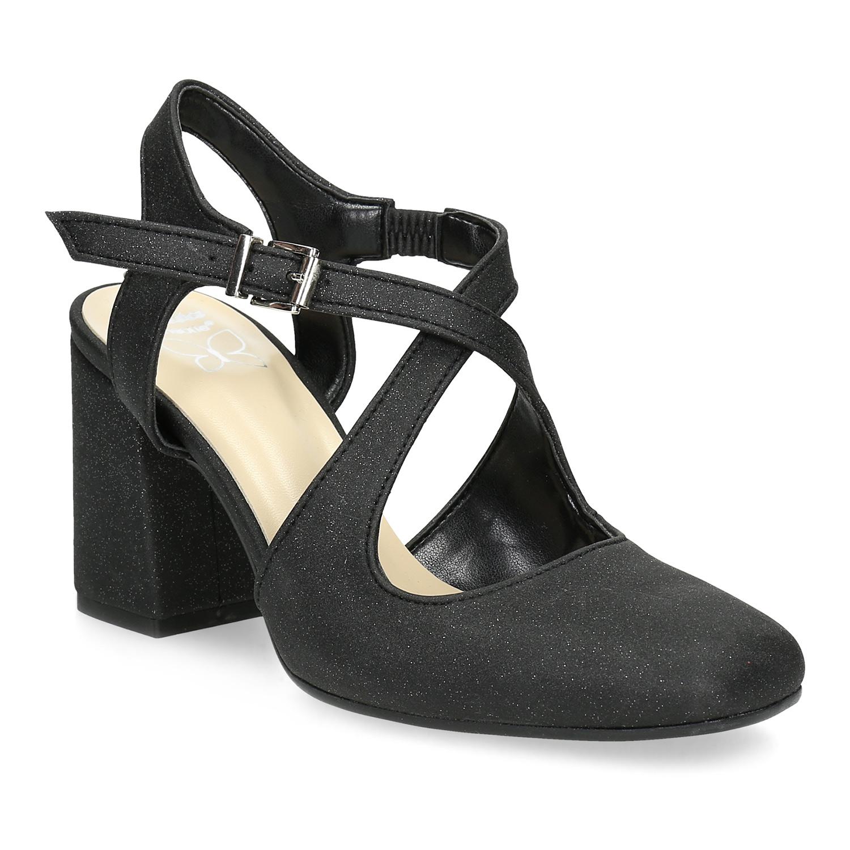 Černé dámské sandály na podpatky se třpytkami