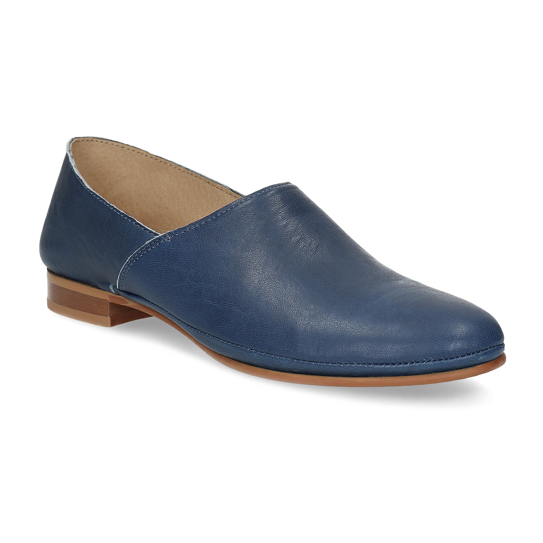 Modré kožené Slip-on dámské
