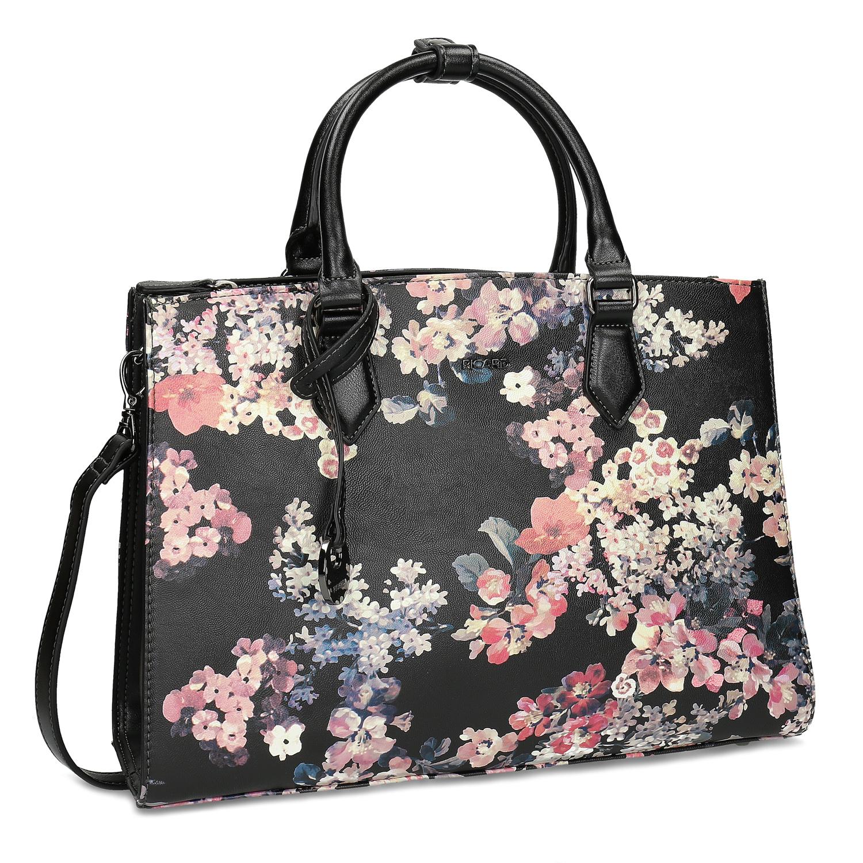 Dámská kabelka s květovaným vzorem černá
