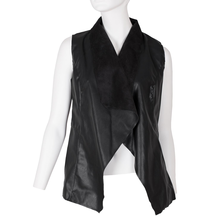 Dámská koženková vesta černá