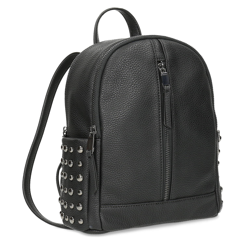 Čierny dámsky batoh s kovovými cvočkami
