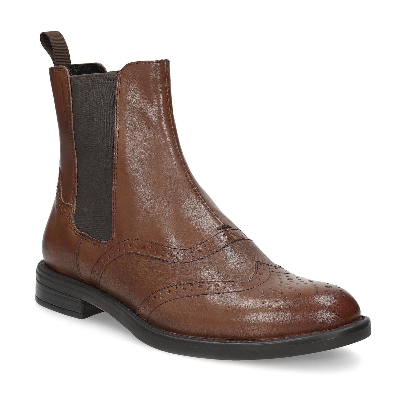 353ae0ff7b0 Dámská hnědá kožená Chelsea obuv