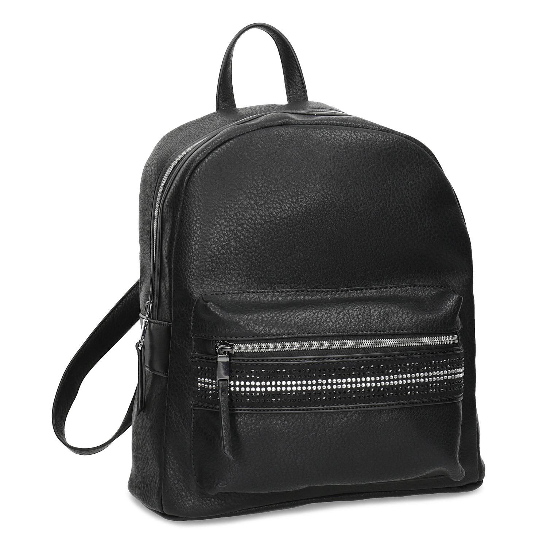 Čierny dámsky batoh s kamienkami