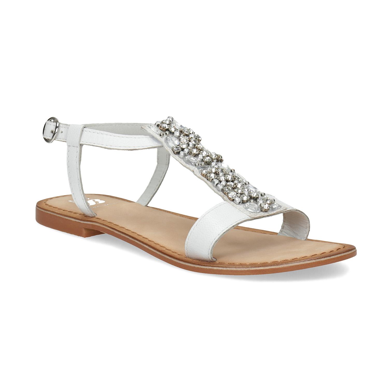 Kožené dívčí sandály s kamínky na nártu