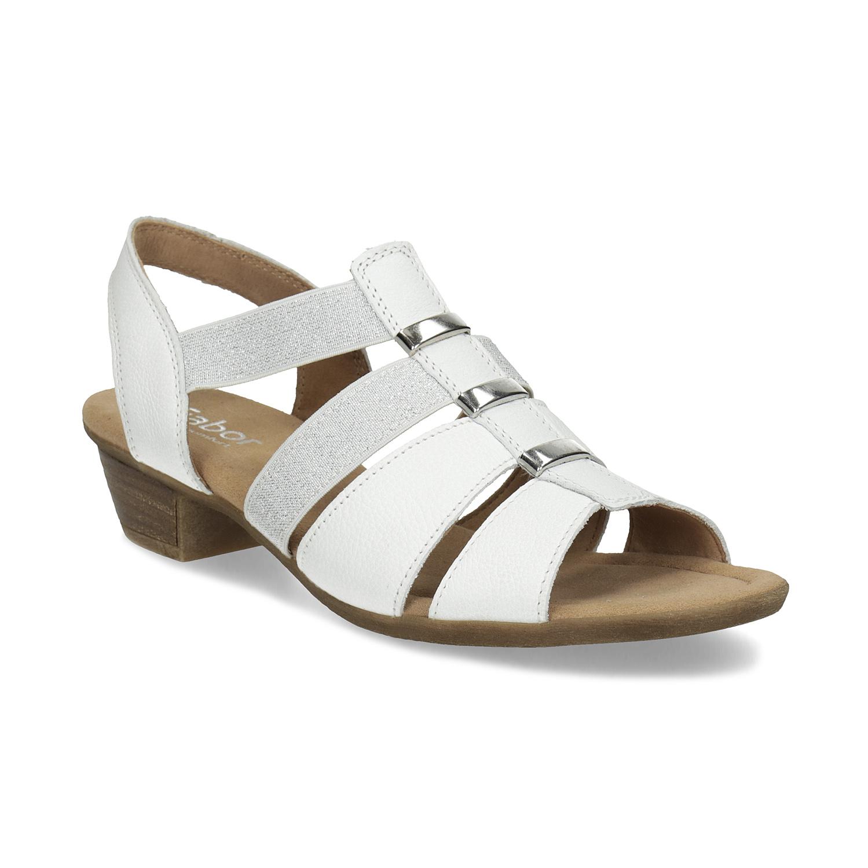 Bílé kožené sandály šíře G