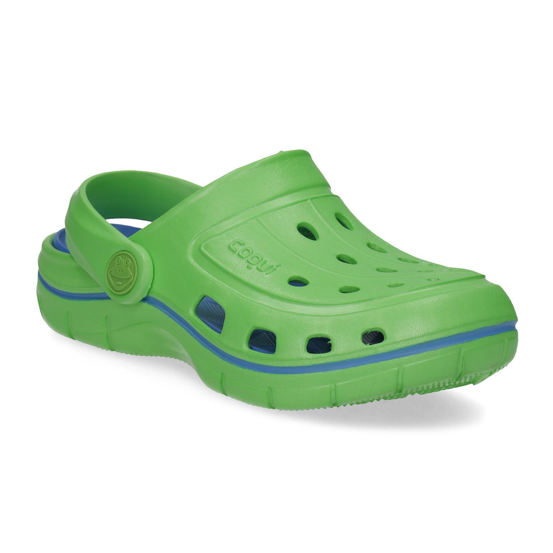 Zelené dětské sandály typu Clogs