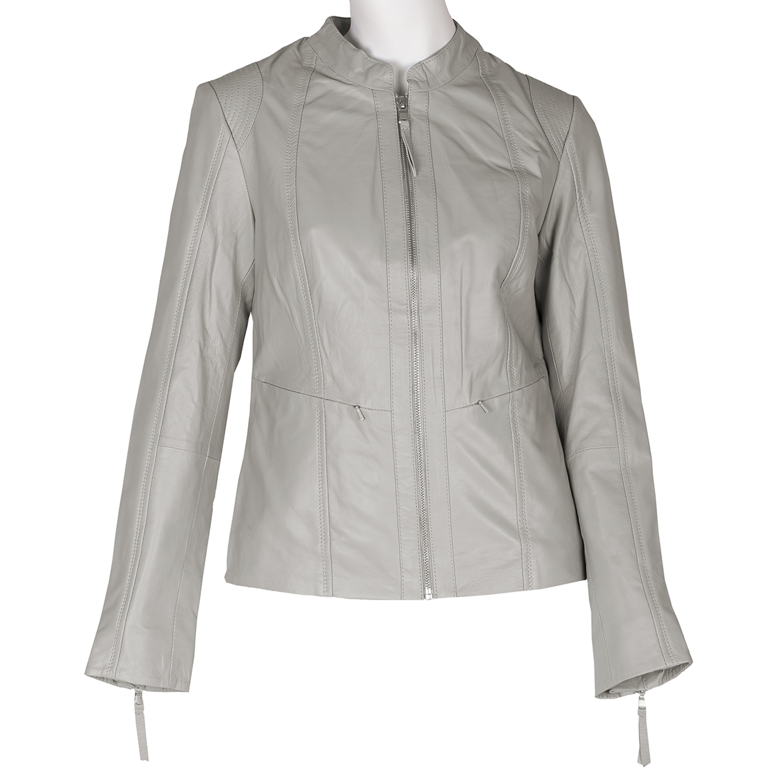 Šedá kožená bunda dámská