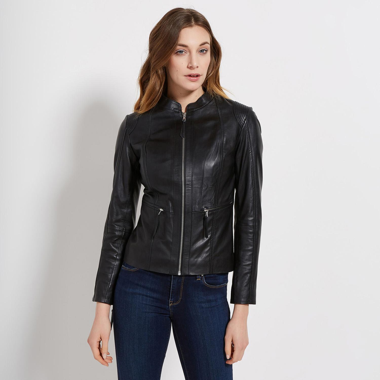 Čierna kožená bunda dámska