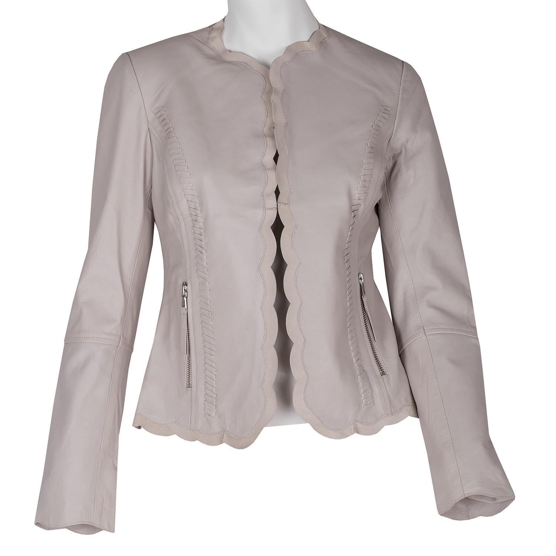 Kožené dámské sako béžové
