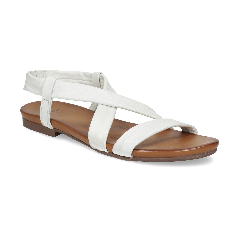 Bílé kožené sandály dámské