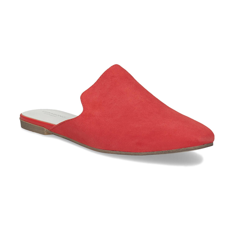 Pantofle z broušené kůže červené
