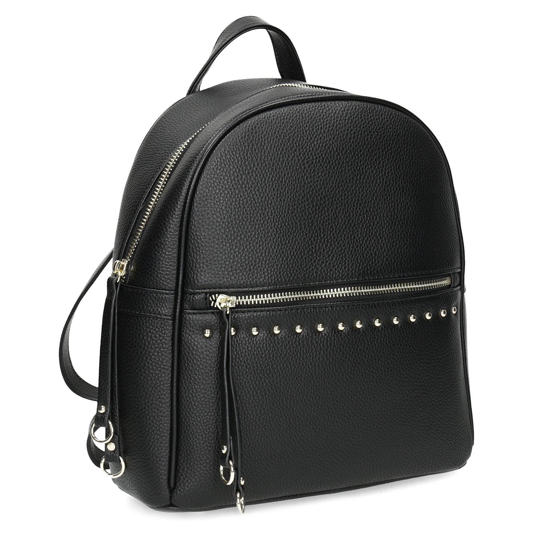 Čierny dámsky batoh s kovovými cvokmi