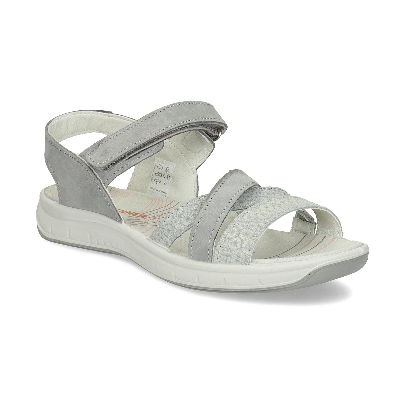 Kožené sandály v Outdoor stylu šedé