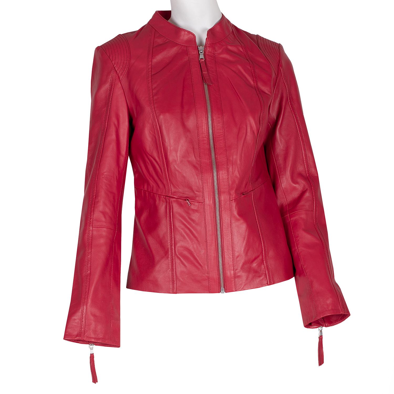 Červená kožená bunda