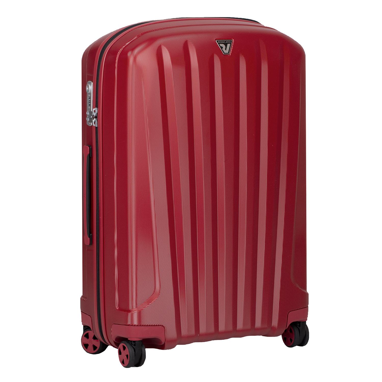 Červený skořepinový kufr na kolečkách velký