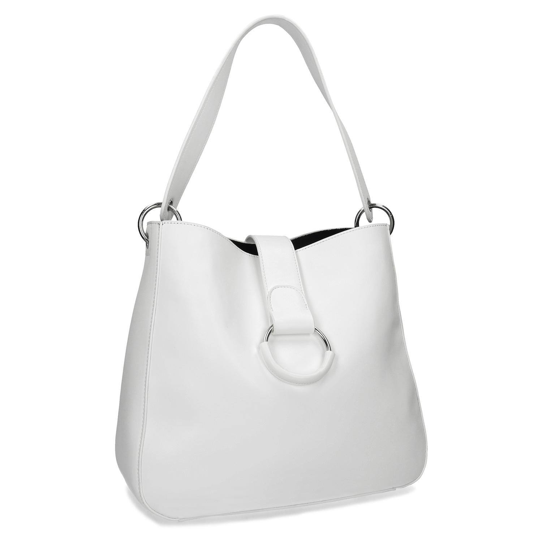 Bílá kabelka s kulatou sponou 0f476be038